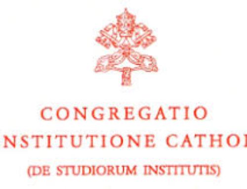 Comunicato della Congregazione per l'Educazione Cattolica